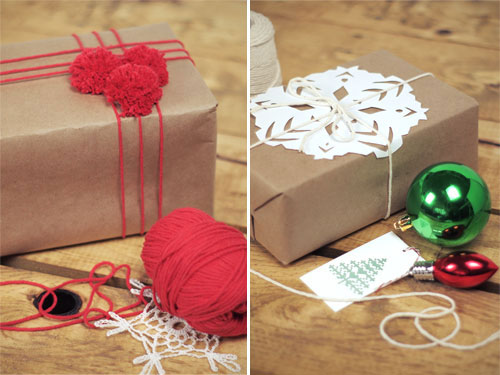 Pom Pom Snowflake Brown Paper Gift Wrapping