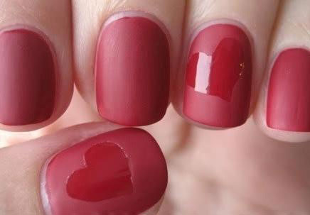 Red Matte Nails with Hearts