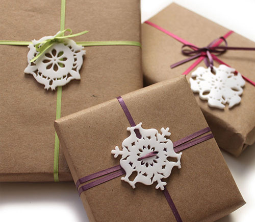 Snowflake Brown Paper Christmas Gift Wrapping