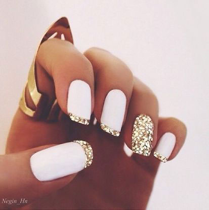 White Matte Gold Glitter Nails