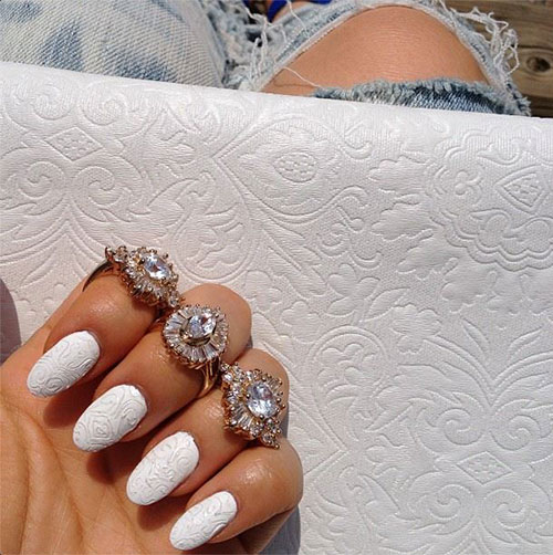 White Matte Nails Design