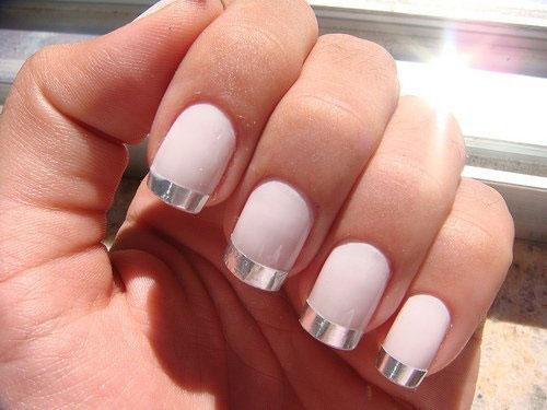 White Matte Silver Nails