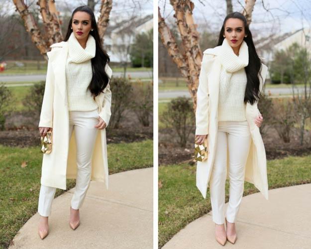 All Cream Winter Outfit Idea