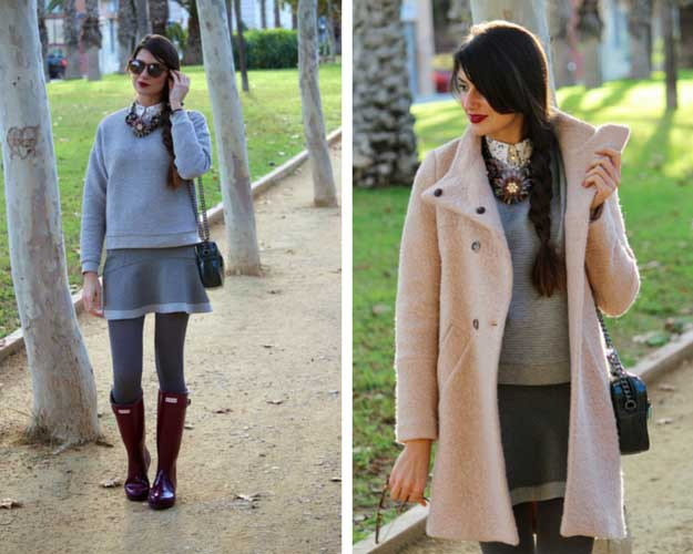 All Grey with Hunter Boots Outfit