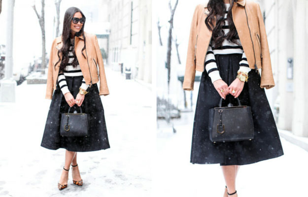 Black Midi Skirt Winter Outfit