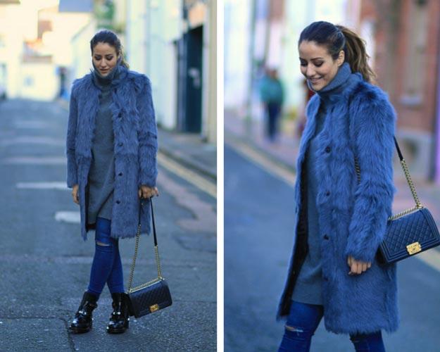 Blue Fur Coat Winter Outfit
