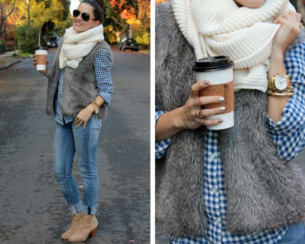 Faux Fur Vest and Scarf Outfit