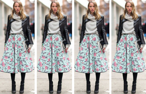 Floral Midi Skirt Winter Outfit