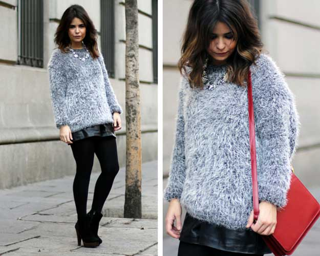 Fluffy Sweater Leather Shorts Outfit