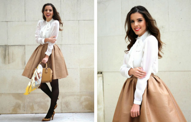 Golden Midi Skirt Winter Outfit Idea
