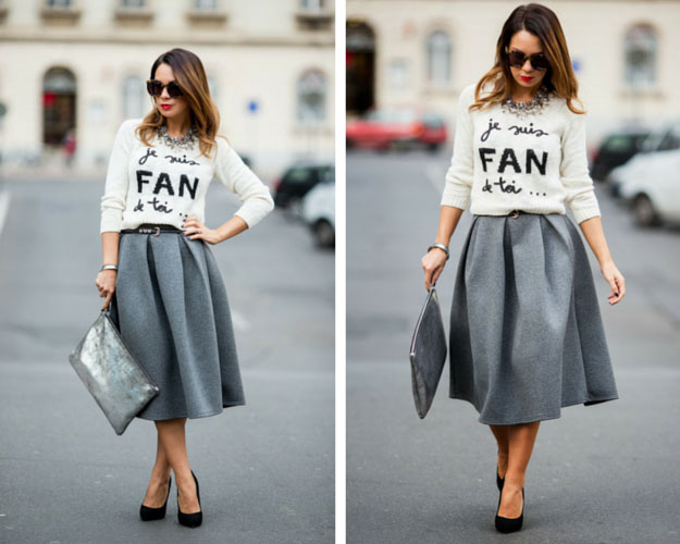 Grey Midi Skirt and Sweater Outfit