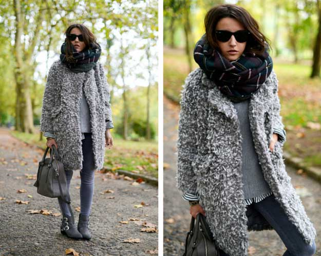 Grey Teddy Bear Coat Winter Outfit