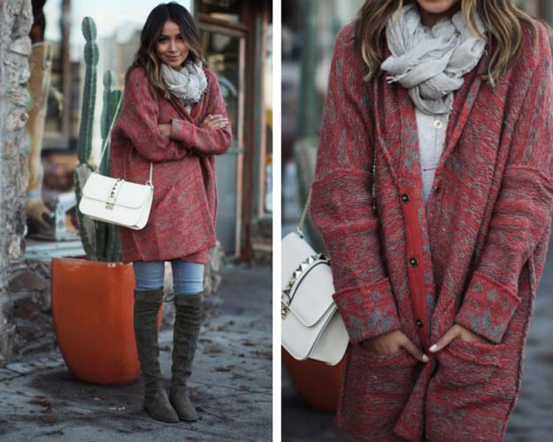 Oversized Cardigan Cute Winter Outfit