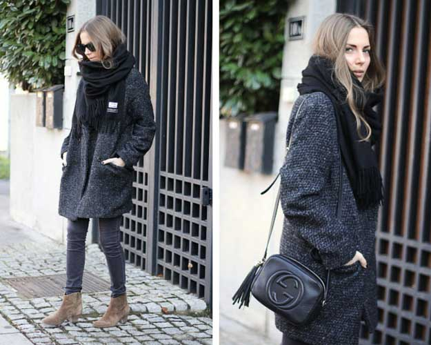 Oversized Coat Ankle Boots Winter Outfit