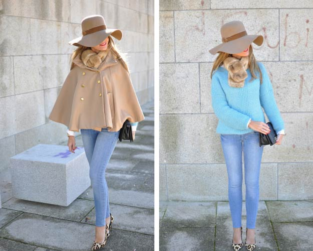 Poncho Coat Winter Outfit