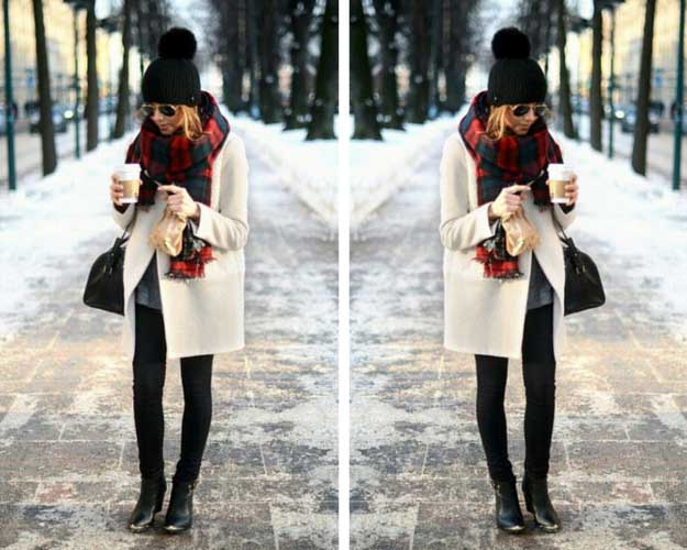 White Coat Plaid Scarf Winter Outfit