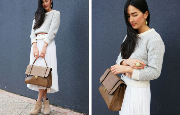 White Midi Skirt Winter Outfit Idea