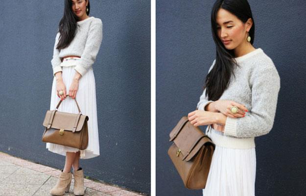 White Midi Skirt Winter Outfit Idea