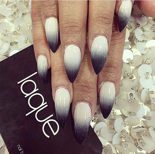 50 best black and white nail designs stayglam stiletto gradient nails prinsesfo Gallery