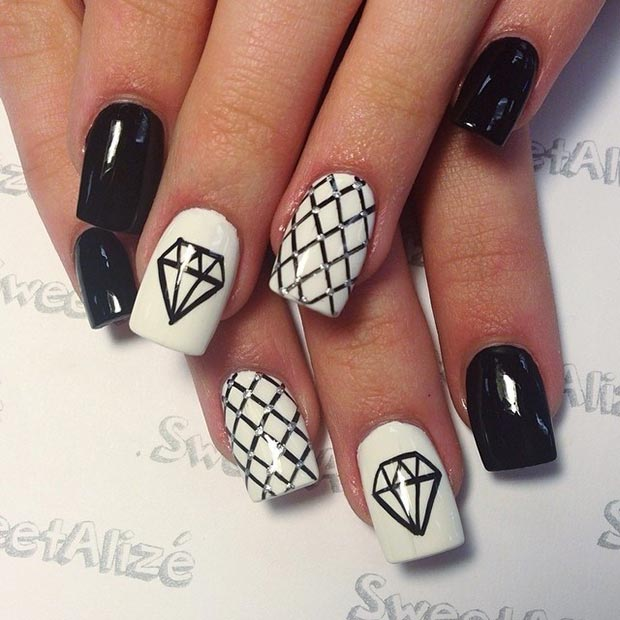 50 best black and white nail designs stayglam diamond nail design prinsesfo Choice Image