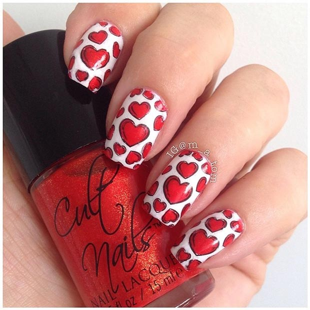 Red Hearts Nails for Valentines Day