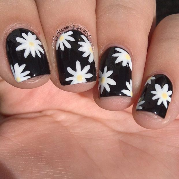 50 best black and white nail designs stayglam black and white flower design mightylinksfo