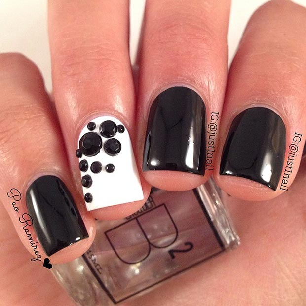 White Accent Nail with Stones