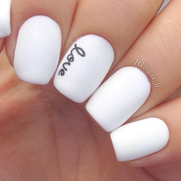 White Matte Love Nails - 50 Best Black And White Nail Designs StayGlam