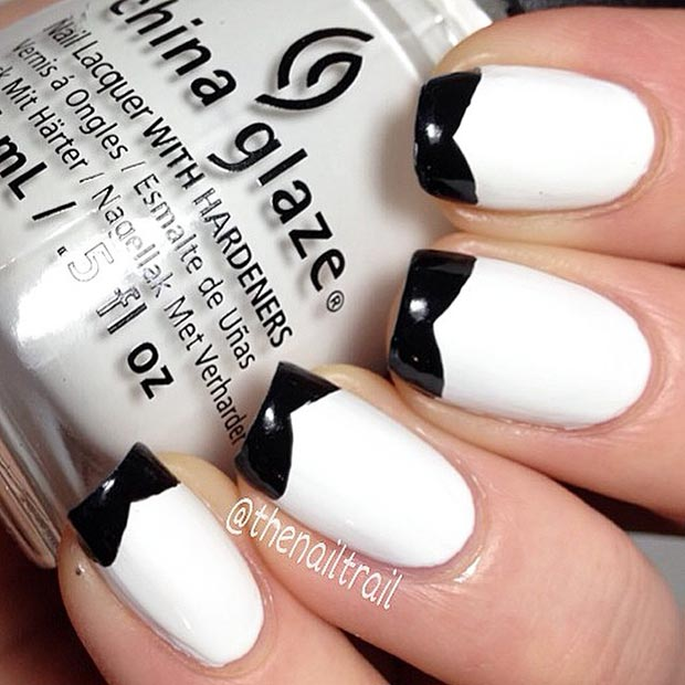 Black Tip Nail Design