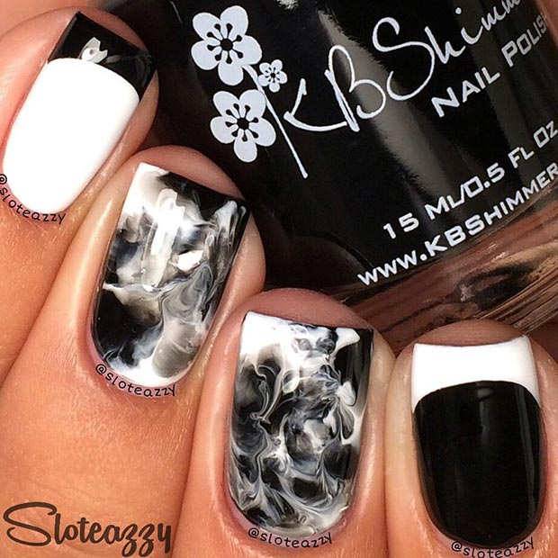 50 best black and white nail designs stayglam cool black and white nail design prinsesfo Choice Image