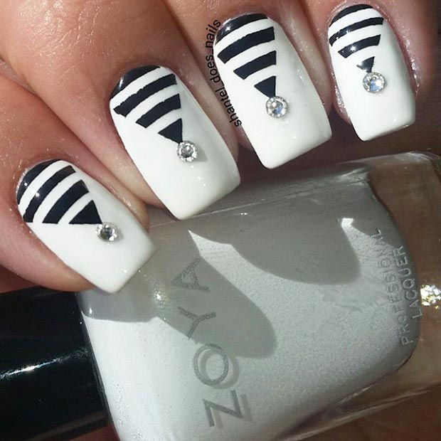 Black and White Swarovski Nail Design