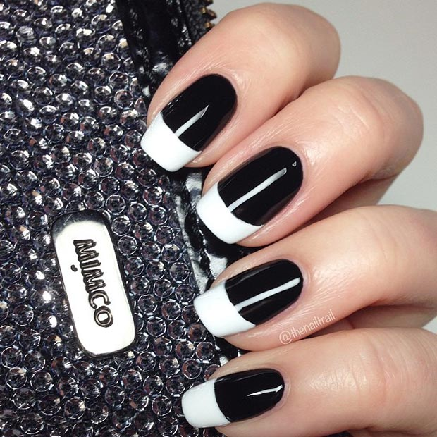 50 best black and white nail designs stayglam white tip nails prinsesfo Images