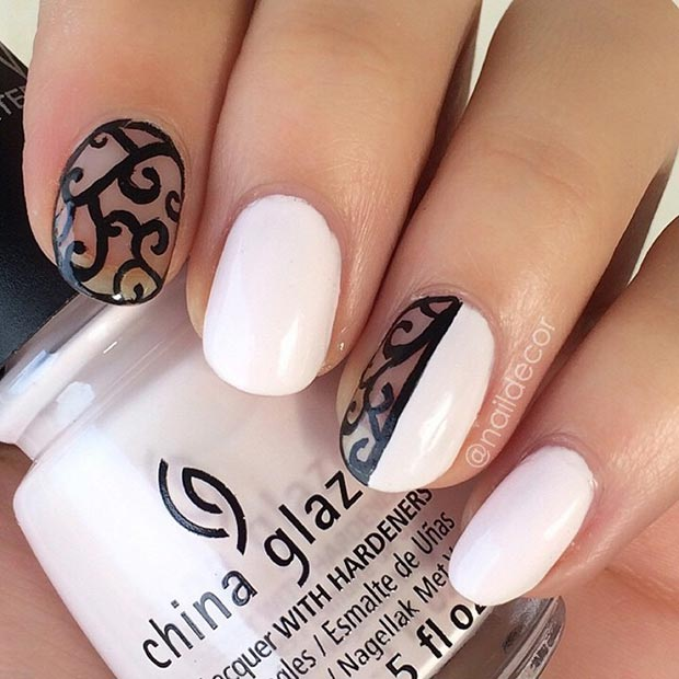 Black and White Elegant Nails