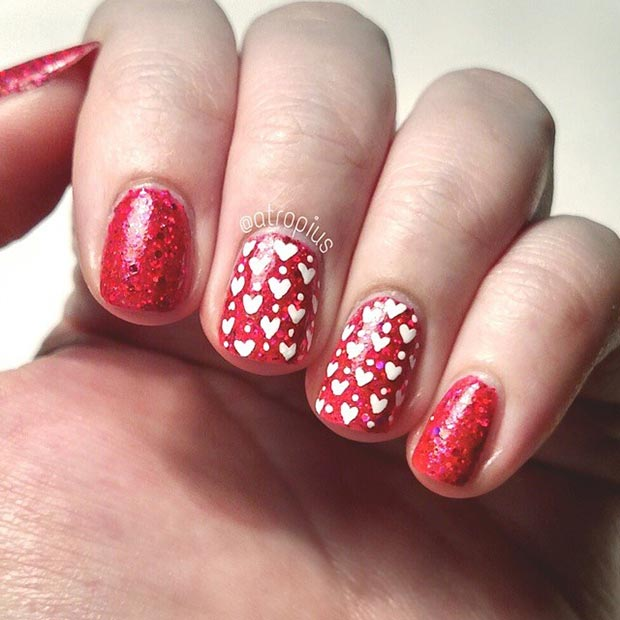 Red and White Heart Nails
