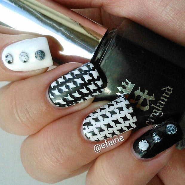 Houndstooth Nail Design - 50 Best Black And White Nail Designs StayGlam