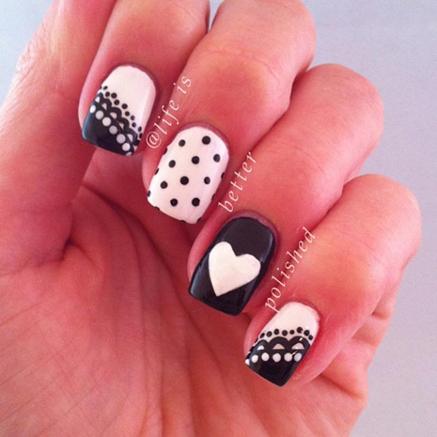 Cute Black and White Nail Design - 50 Best Black And White Nail Designs StayGlam