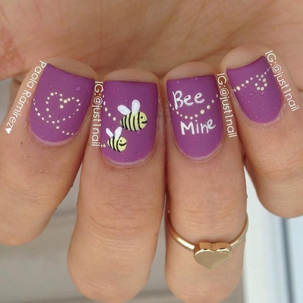 Be Mine Purple Nail Design