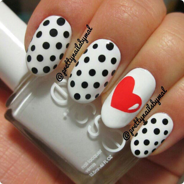 Polka Dot and Heart Accent Nails