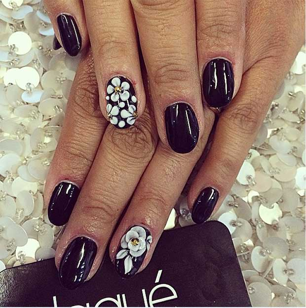 50 best black and white nail designs stayglam floral accent nails prinsesfo Images