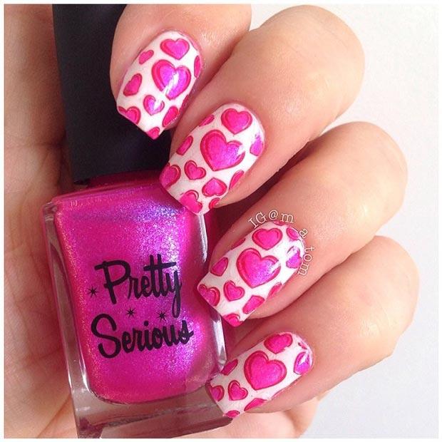 Pink Hearts Nails