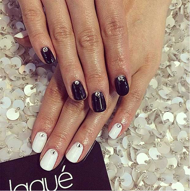 Simple Black and White Nail Design with Rhinestones - 50 Best Black And White Nail Designs StayGlam