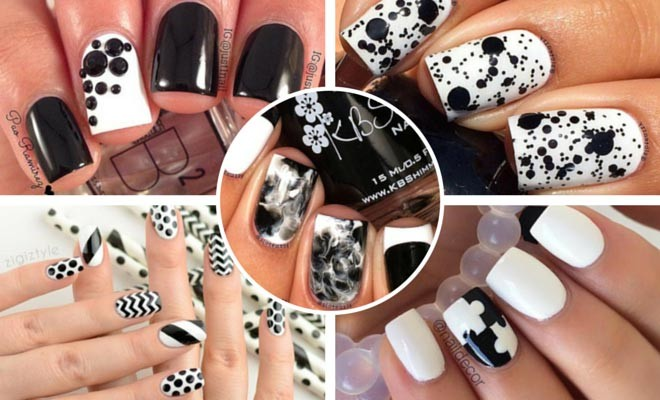 50 best black and white nail designs stayglam prinsesfo Choice Image