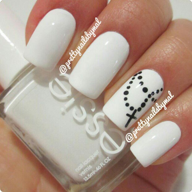 Cross Nail Design - 50 Best Black And White Nail Designs StayGlam