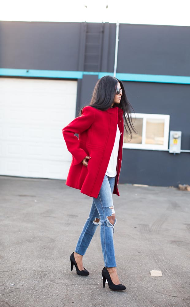 Casual Red Coat Outfit for Valentines