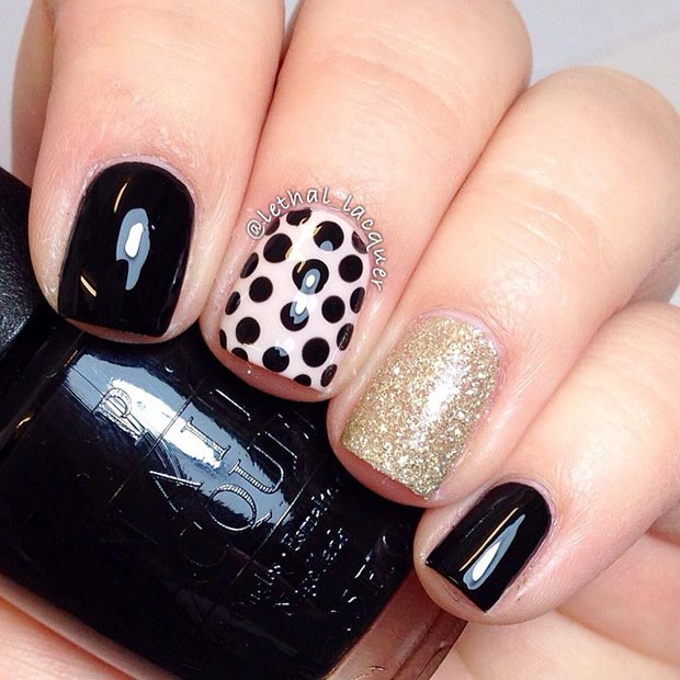 80 nail designs for short nails stayglam black and gold nail design prinsesfo Images