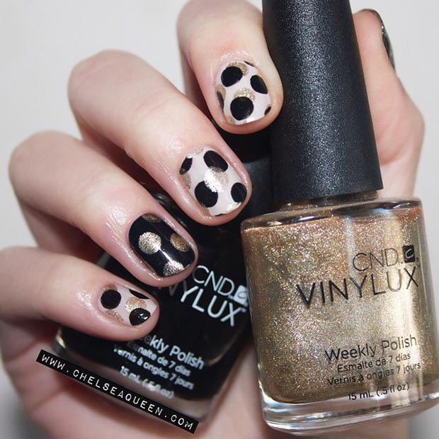 Black and Gold Polka Dot Nail Design