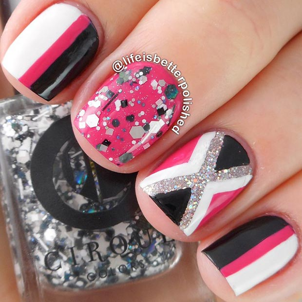 black and hot pink nail design for short nails