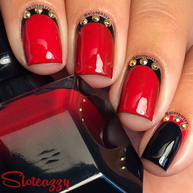 80 nail designs for short nails stayglam black and red nail design with gold details prinsesfo Images