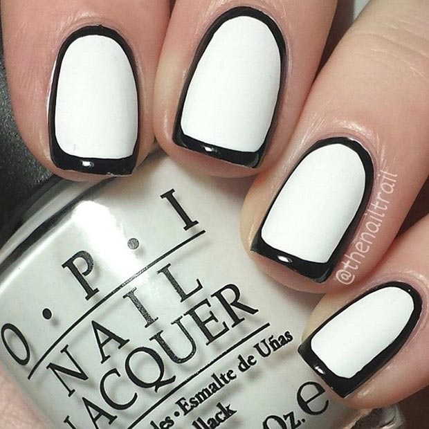 80 nail designs for short nails stayglam black white borderline nail design prinsesfo Image collections