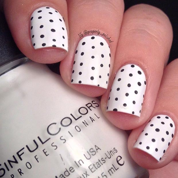 80 nail designs for short nails stayglam black and white polka dot nail design prinsesfo Choice Image